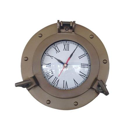 Antique Brass Decorative Ship Porthole Clock 8