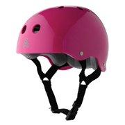 Triple 8 Skater Hardened Skate Helmet with Sweatsaver Liner, Pink Gloss - Small