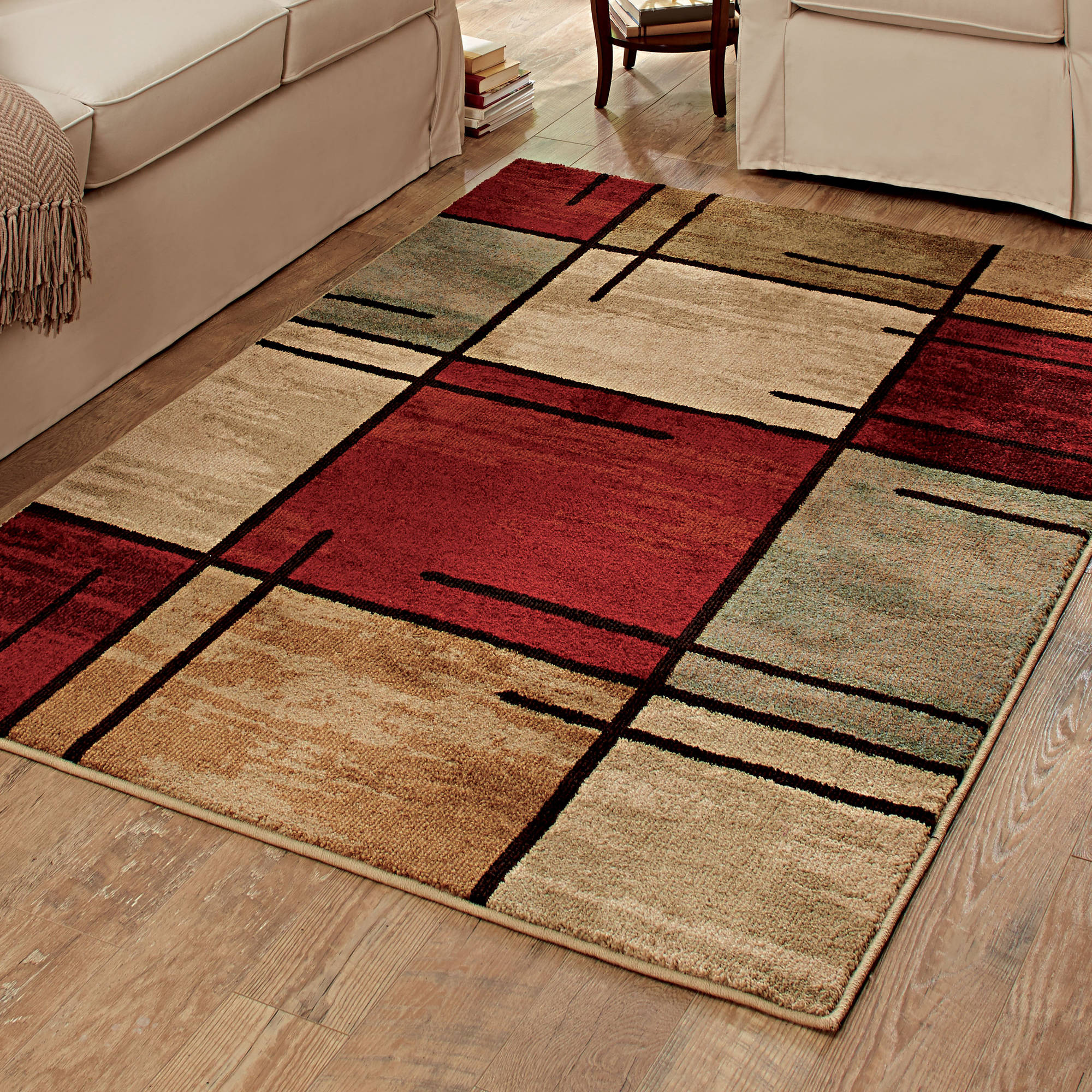 Better Homes and Gardens Spice Grid Rouge Olefin Area Rug  Available In Multiple Sizes