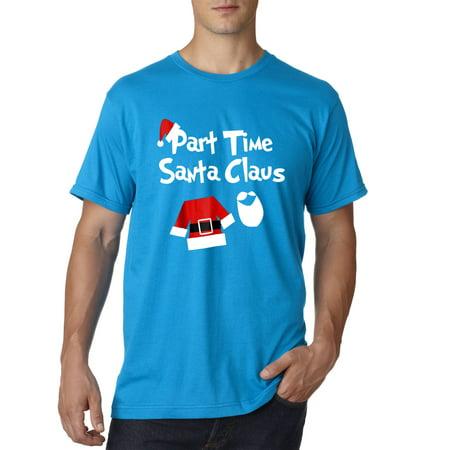 New Way 1123 - Unisex T-Shirt Part Time Santa Claus Christmas Saint Nick XL Sapphire - Santa In Blue Suit