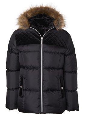 Limited Too Toddler Girl Faux Fur Trim Velvet Yoke Winter Jacket Coat