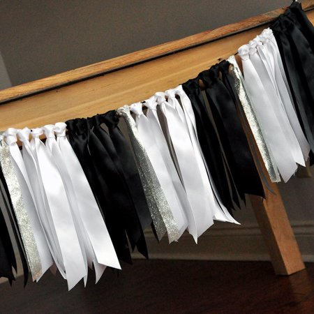 Graduation Party Decorations. Black, White, and Silver Ribbon Garland. Graduation Ribbon Garland. Black and Silver Party Decor.