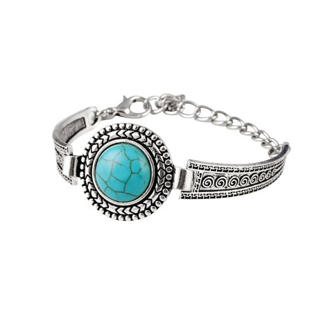 Womens Retro Round Bracelet Clouds Flowers Turquoise Bracelet Womens Accessories