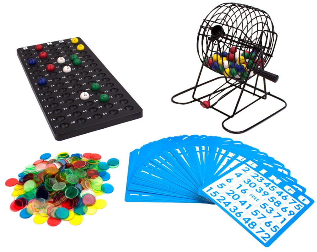 """Deluxe 6"""" Bingo Game w Colored Balls, 300 Chips and 50 Cards"" by BryBelly"