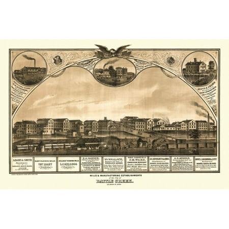 Antique Map of Battle Creek Michigan 1869 Calhoun County Stretched Canvas -  (24 x 36)