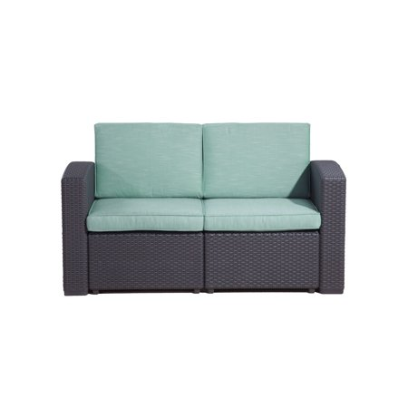 San Pedro Outdoor Loveseat with Quality Outdoor Fabric, Teal ()