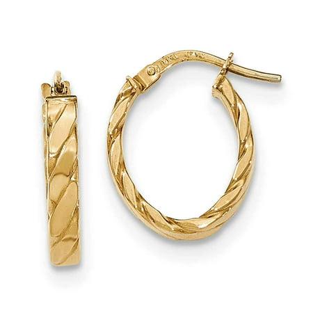 14k Patterned Hoop Earrings - 14K Patterned Oval Hoop Earrings