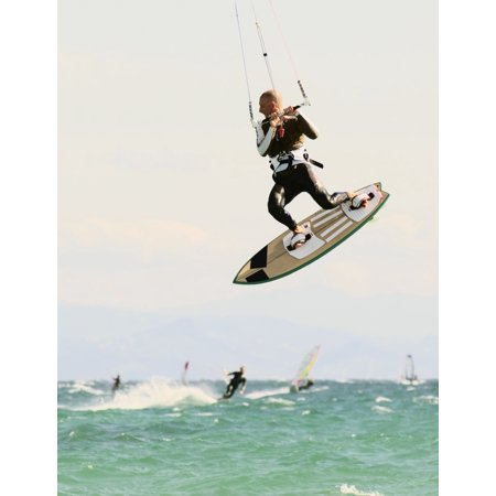 Man Kitesurfing Canvas Art - Ben Welsh Design Pics (26 x 34)