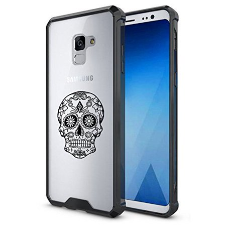 For Samsung Galaxy Clear Shockproof Bumper Case Hard Cover Sugar Candy Skull (Black For Samsung Galaxy S9 + (Plus))