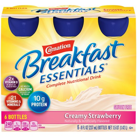 Carnation Breakfast Drink - Carnation Breakfast Essentials, Creamy Strawberry, 8 fl. oz. Bottles, 6 Count