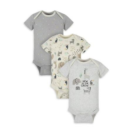 Gerber Organic Cotton Baby Unisex Safari Bodysuit, 3 Pack