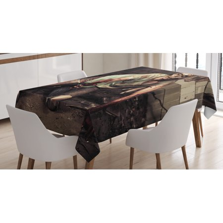 Zombie Decor Tablecloth, Halloween Scary Dead Man in Old Building with Bloody Head Nightmare Theme, Rectangular Table Cover for Dining Room Kitchen, 60 X 84 Inches, Grey Mint Peach, by - Scary Halloween Themes