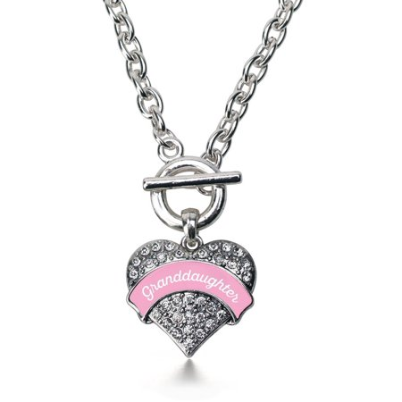 Pink Granddaughter Pave Heart Toggle Necklace