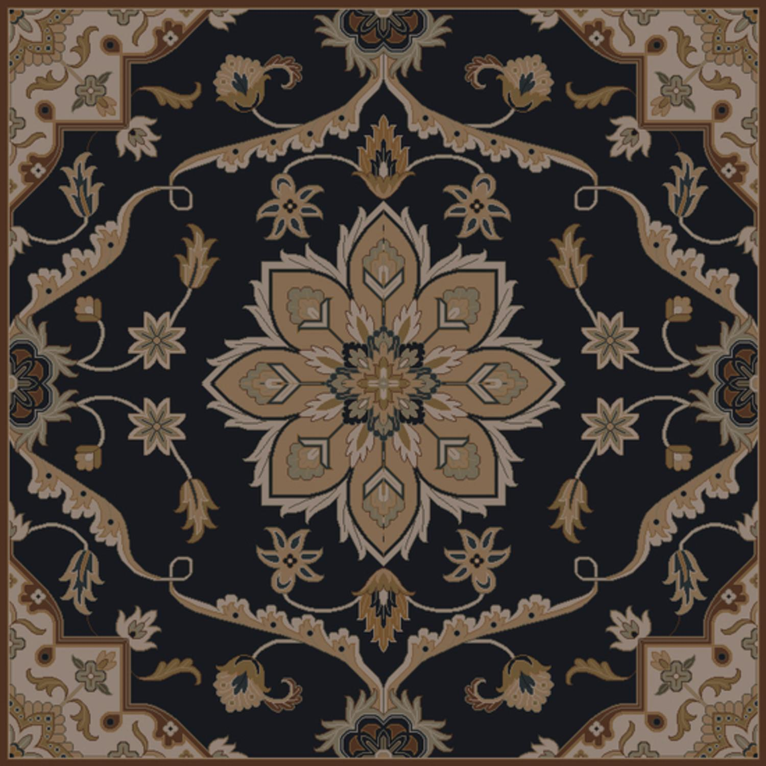 4' x 4' Claudius Sepia, Taupe and Slate Blue Square Wool Area Throw Rug