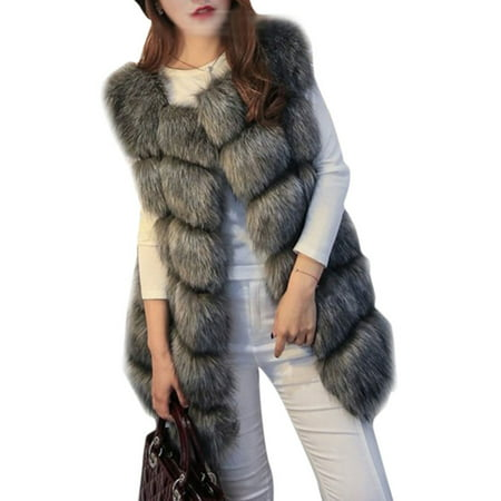 Nylon Winter Vest (Womens Winter Warm Faux Fur Gilet Vest Sleeveless Waistcoat Jacket Coat)