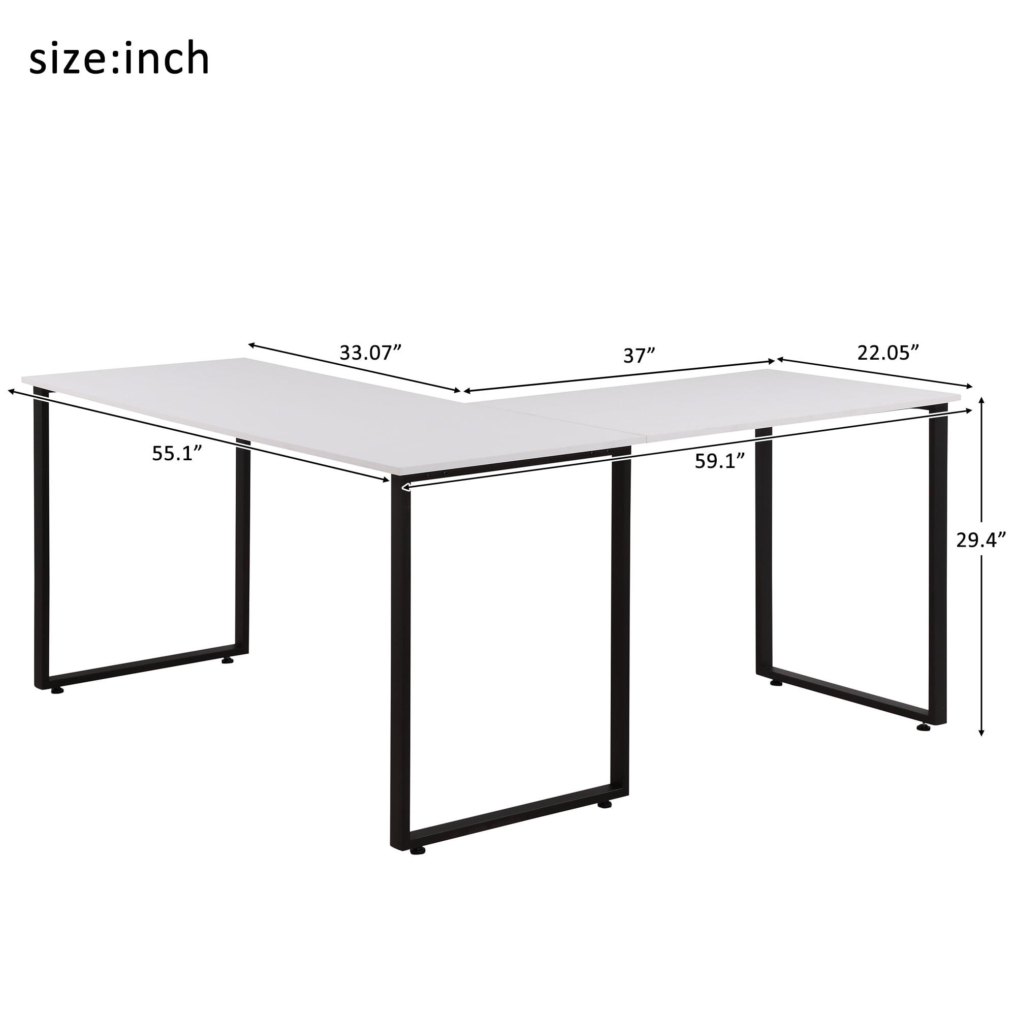 Merax 59 L Shaped Desk With Metal Legs Office Desk Corner Computer Desk Pc Laptop Table Workstation Walmart Com Walmart Com