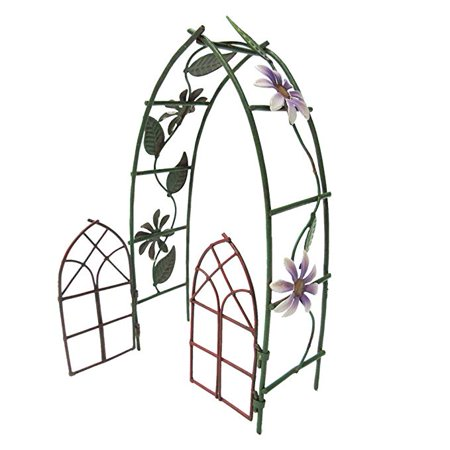Enchanted Mini Fairy Garden Accessories Decorative Metal Garden Arbor Gate Arch Shape with Floral Design 6.5 inch Tall (Decorative Metal Garden)