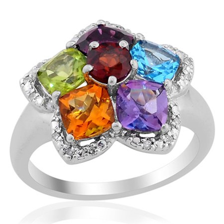 stylish Unique Elegant 925 Sterling Silver Blue Topaz Multi Gemstone Cluster Cocktail Promise Ring Jewelry for Women Gift Size 7 Gemstone Cluster Cocktail Ring