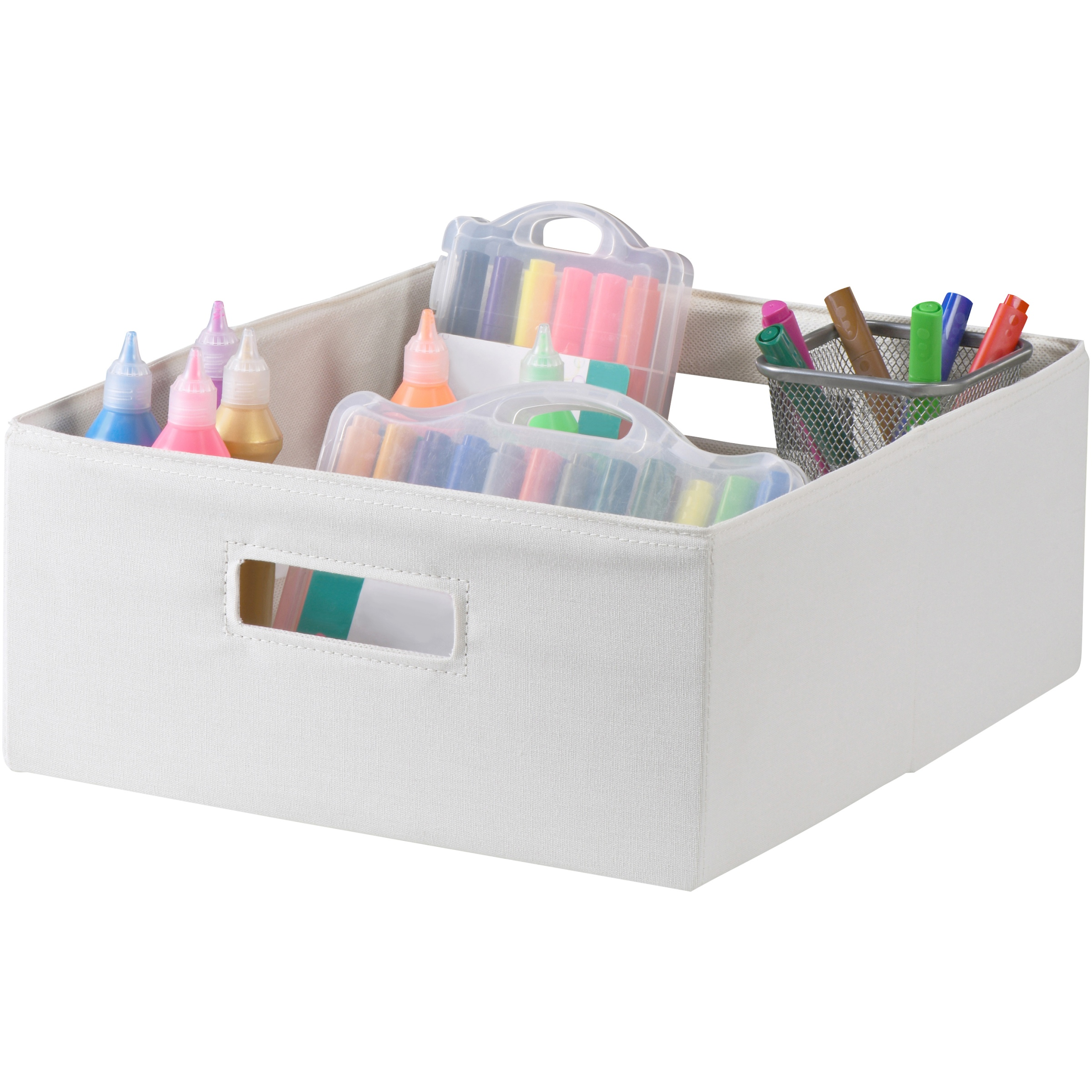 Better Homes & Gardens® Half-Sized Cream Fabric Storage Bin