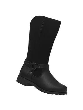3a72d8c3aefd Product Image Rachel Shoes Girls Black Metal Stud Straps Side Zipper Calf  Boots
