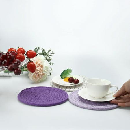 "Set of 3 Cotton Thread Weave Heat Resistant Mat, 7"" Dia, Placemats Purple Series - image 3 of 7"