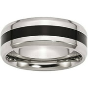 Stainless Steel Black Enamel 8mm Polished Beveled Edge Band, Available in Multiple Sizes