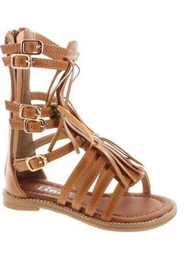 b80cd795c1e8 Product Image Link Savannah 3KA Baby Girls Strappy Buckled Fringe Gladiator Flat  Sandals