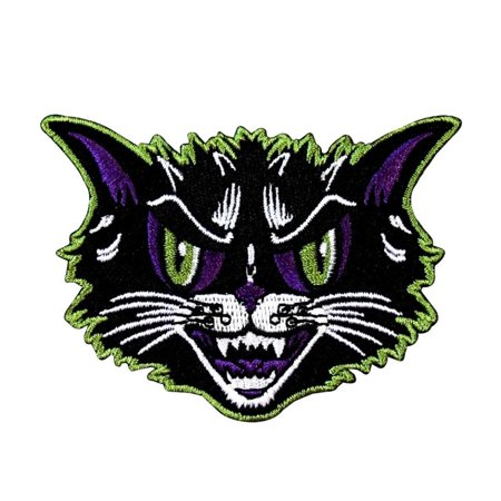 Angry Cat Patch Kreepsville Scary Feline Face Halloween Craft Iron-On Applique - Halloween Black Cat Craft