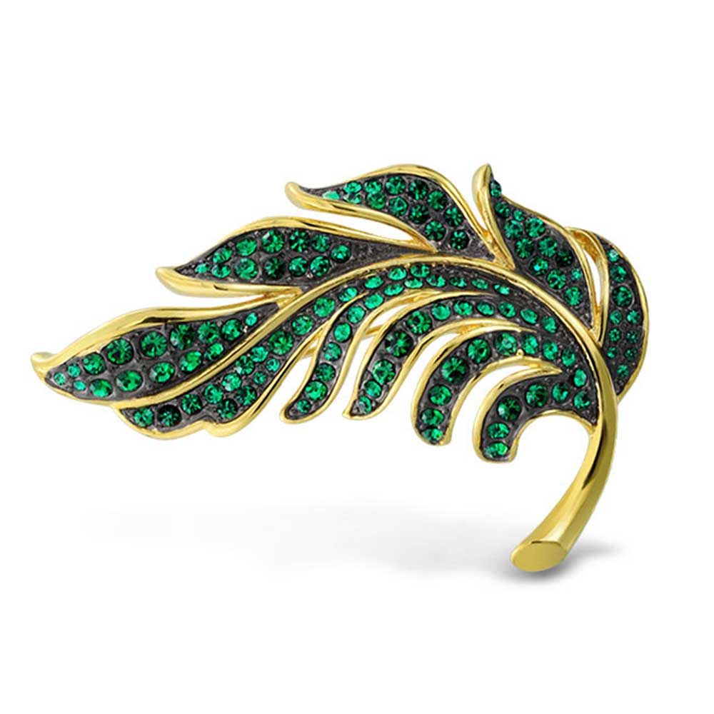 Bling Jewelry Leaf Simulated Emerald Green Crystal Gold Plated Brooch Pin by Bling Jewelry