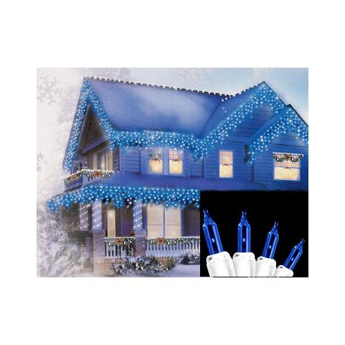 Set of 100 Blue Everglow Icicle Christmas Lights - White Wire
