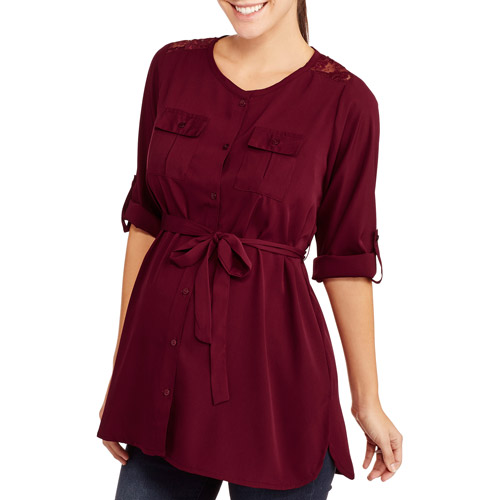 Oh! Mamma Maternity 3/4 Sleeve Embellished Shoulder Shirt