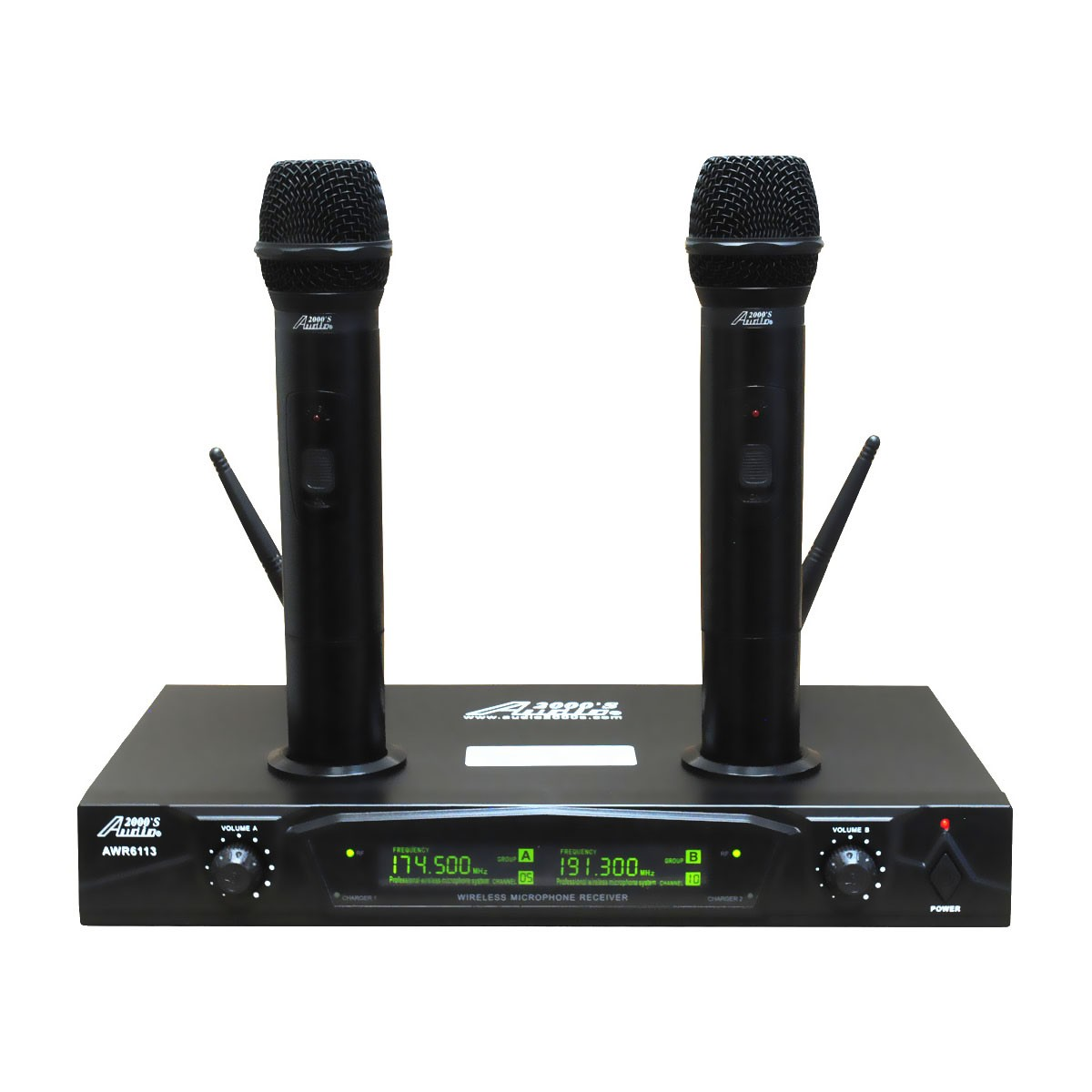 Audio 2000s AWM6113 Dual Channel Rechargeable VHF Wireless Microphone System by