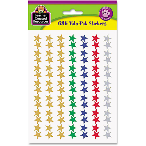 Teacher Created Resources Sticker Valu-Pak, Foil Stars, 686pk