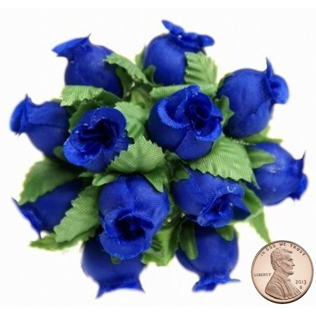 Flower Picks (144 Miniature Poly Rose Silk Favor Flower Pick Wedding Shower - Royal)