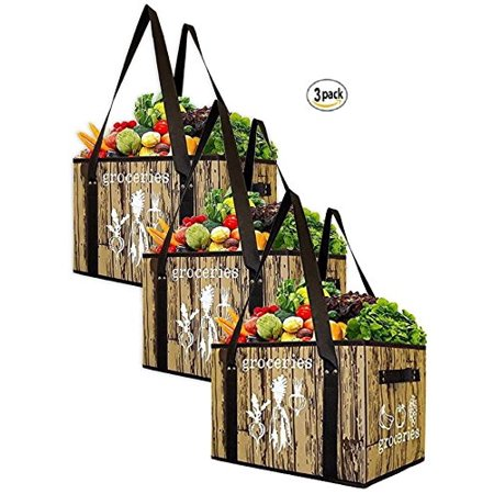 Cheap Reusable Bags (Earthwise Reusable Grocery Bag Set Deluxe Collapsible Shopping Box with Reinforced Bottom (Set of)