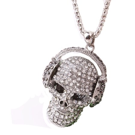 Crystal Skull Head Necklace Pendant Rock 'n' roll Headphones Skull Ant-Tarnish, - Skull Head Necklace