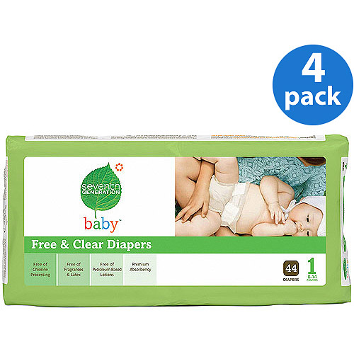 Seventh Generation - Free & Clear Diapers Size 1, 44 ct (Pack of 4)
