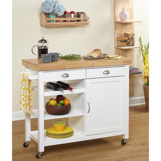 Kitchen Trolley Designs Colors: Martha Kitchen Cart, Rubber Wood Top, Multiple Colors