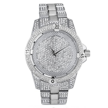 Silver Diver Bezel Center Dial Stone Bling Metal Watch