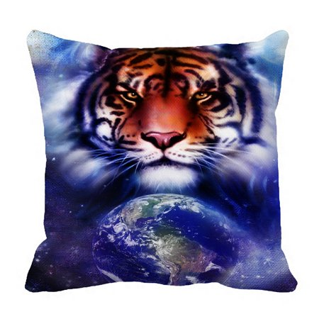 PHFZK Animal Pillow Case, Painting Tiger on Color Cosmic Space Pillowcase Throw Pillow Cushion Cover Two Sides Size 18x18 - Cosmic Cotton Catnip Pillow