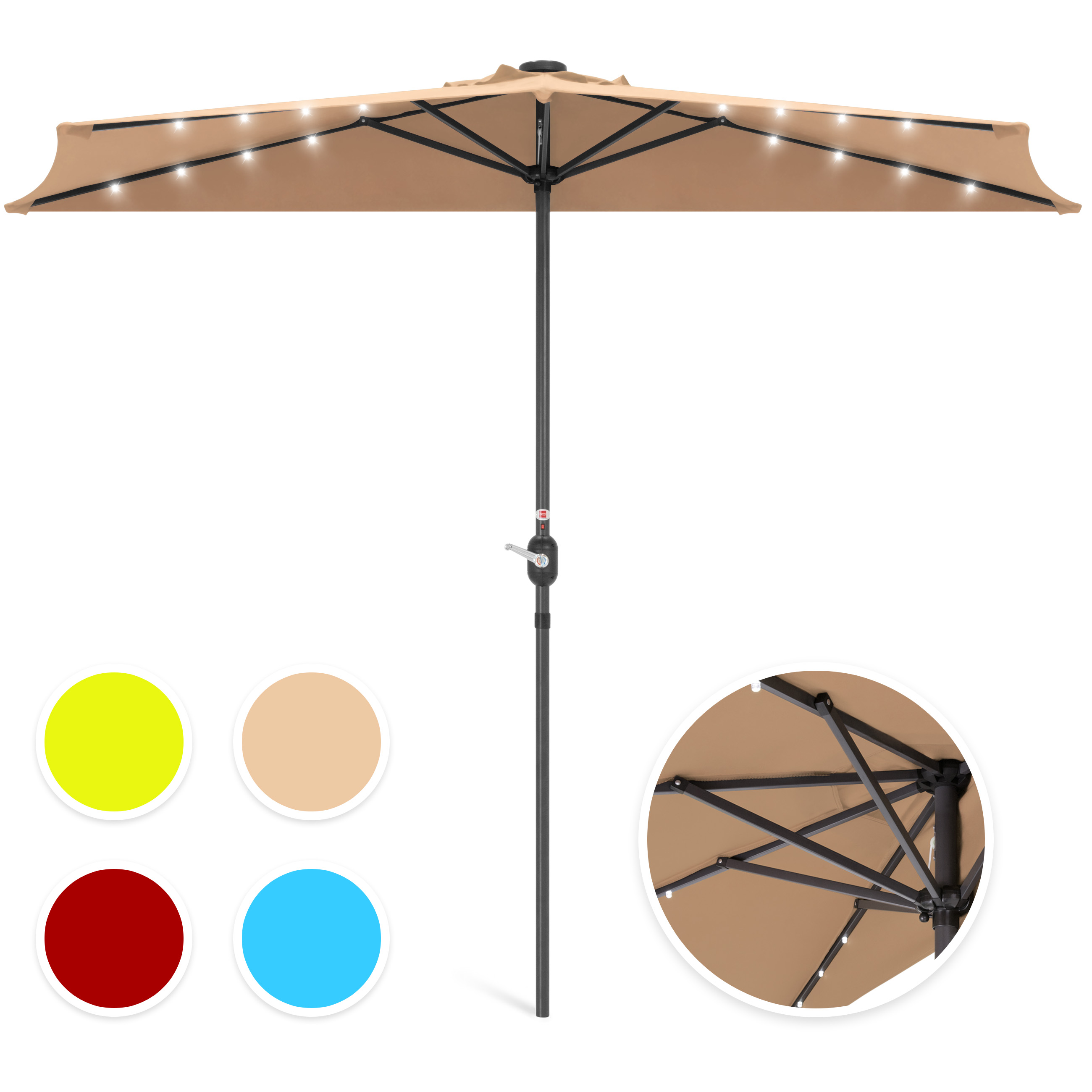 Best Choice Products 8.5ft Solar LED Half Patio Umbrella w/ Crank - Tan