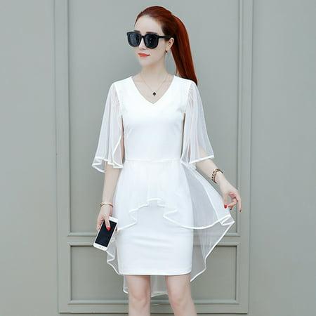 Piece Chiffon Dress - Women Simple Solid Color Fake Two Pieces V-neck Chiffon Dress white M