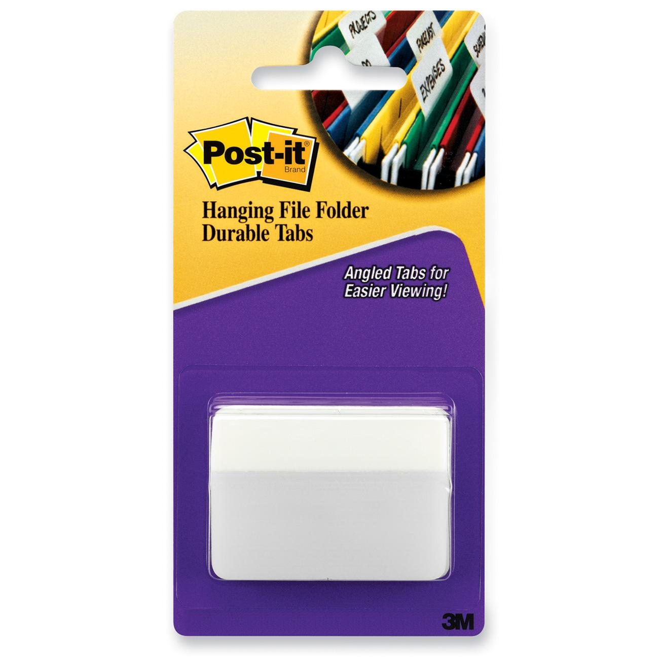 Post-it Tabs, 2 in. Angled Solid, White, 50 Tabs/Pack