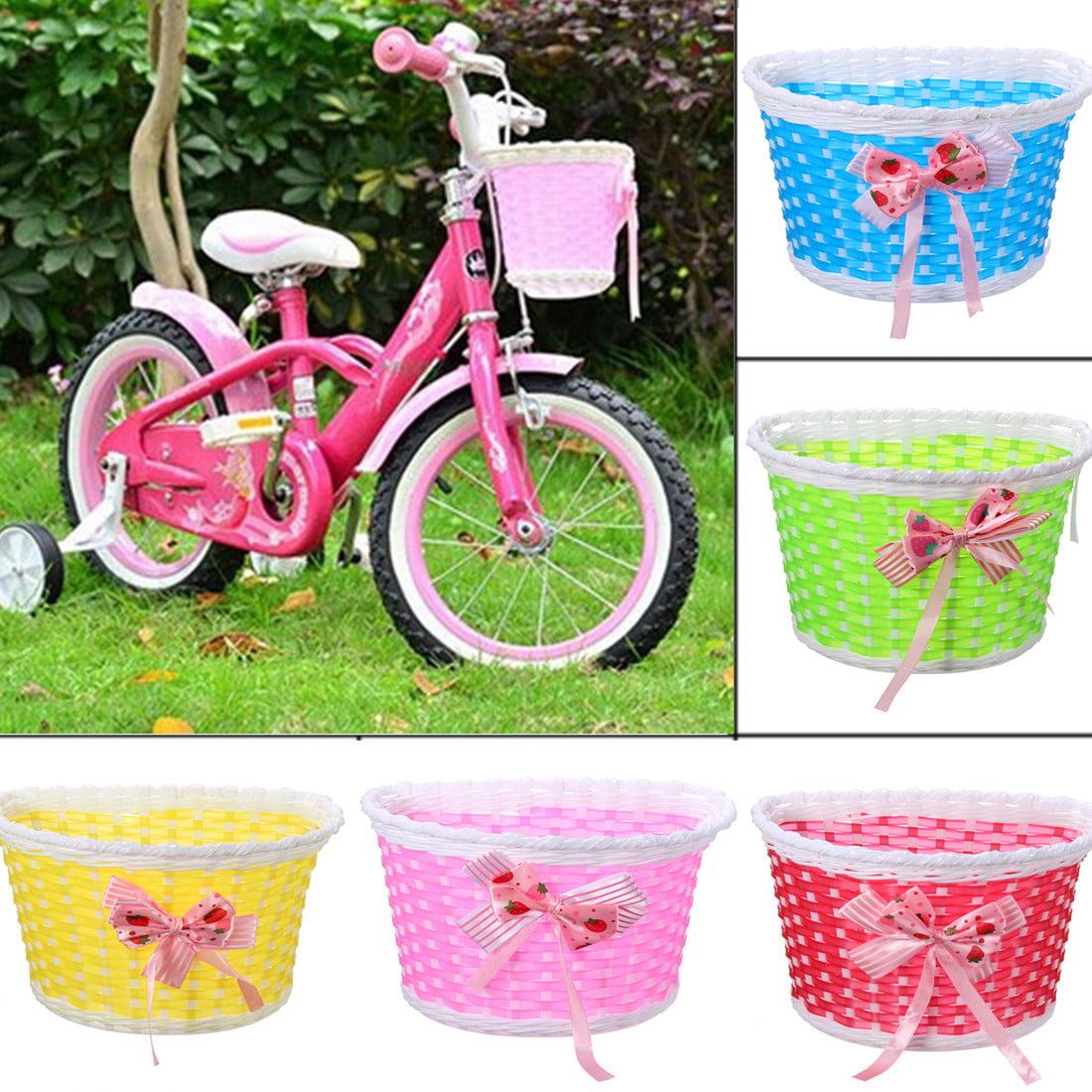 Bike Cycle Bicycle Front Basket Flowery Shopping Holder Case Children Kids Girls