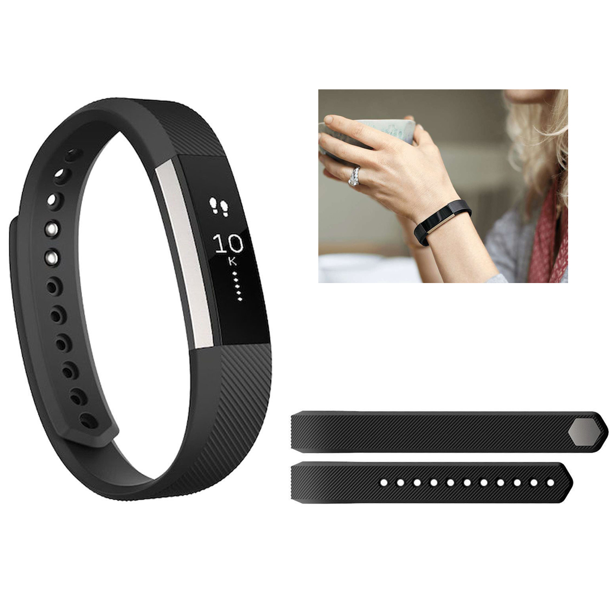 TSV Fitbit Alta Bands, Classic Fitbit Alta and Fitbit Alta HR Smart Watch Strap Accessories Replacement Wristband with Fastener & Metal Clasp Large Small Women Men Girls Boys(No Tracker)
