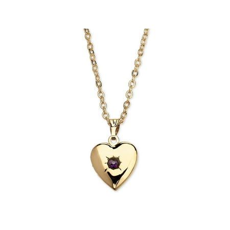 Birthstone Heart Locket Necklace in Yellow Gold (Abalone Purple Pendant)