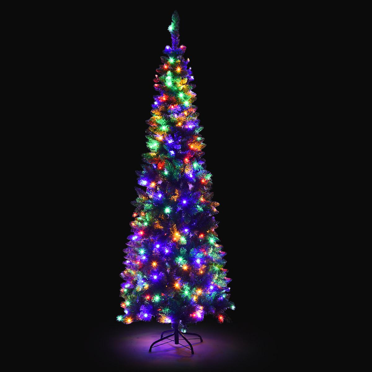 Gymax 6.5Ft Pre-Lit Pencil Christmas Tree Hinged Artificial Slim Tree W// Led
