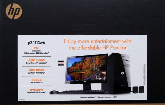 "HP Black Pavilion p2-1113wb Desktop PC with AMD Dual-Core E-300 Accelerated Processor, 4GB Memory, 20"" Monitor, 500GB Hard Drive and Windows 7 Home Premium"