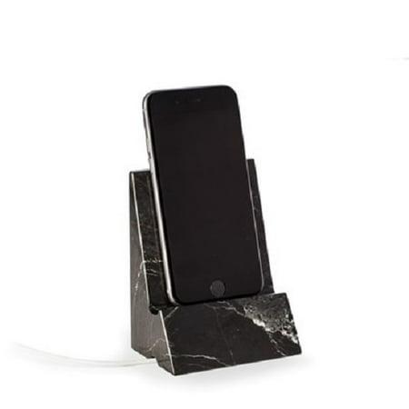 """Bey Berk Black """"Zebra"""" Marble Desktop Phone / Tablet Cradle"""