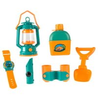 Pretend Play Camping Set with Lantern, Compass, Binoculars, Canteen and More- Toy Camp Gear for Indoor/Outdoor Use for Boys and Girls By Hey! Play!